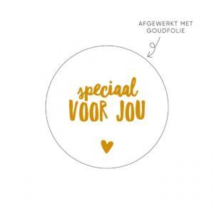 Lizet Beek, sticker rond 40mm, wit met goud `Speciaal voor jou` ( per 10 stuks )