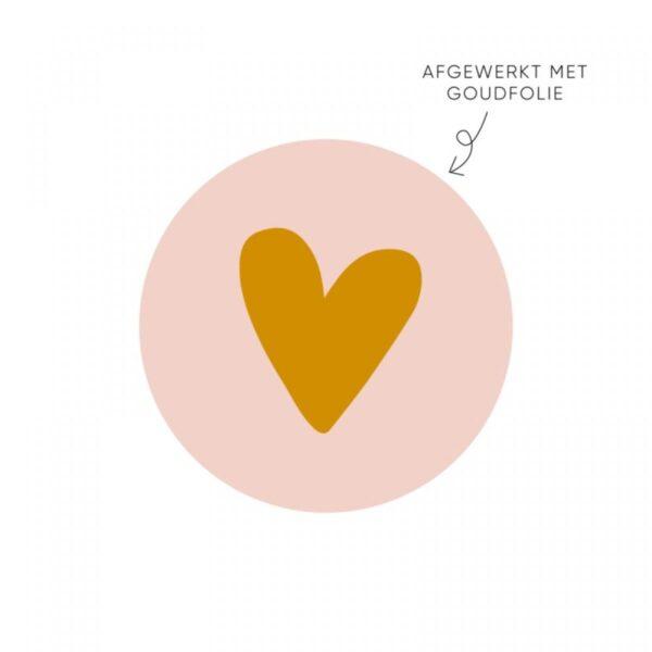 Lizet Beek, sticker rond 40mm, roze met goud `Van harte` ( per 10 stuks )