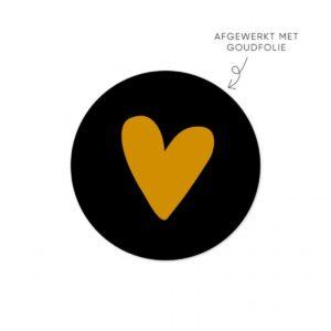 zwart met gouden hart sticker