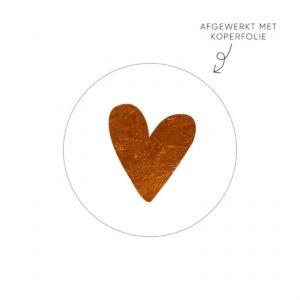 Lizet Beek, sticker rond 40mm, wit met koper hart ( per 10 stuks )