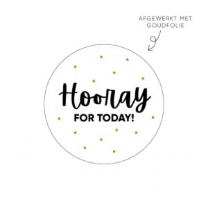 Lizet Beek, sticker rond 40mm, `Hooray for today` ( per 10 stuks )
