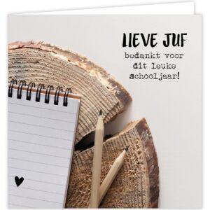 Give X , Dubbele kaart met envelop 12cmx12cm Lieve Juf