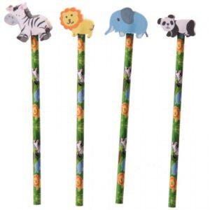 Gift, jungle dieren potlood Olifant / Panda / Leeuw / Zebra