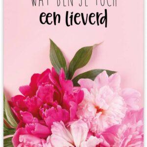 Give X, A6 kaart, Lieverd , bloemen roze