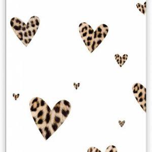 Give X, minikaart : kadolabel dubbel WILD panter print hartjes patroon