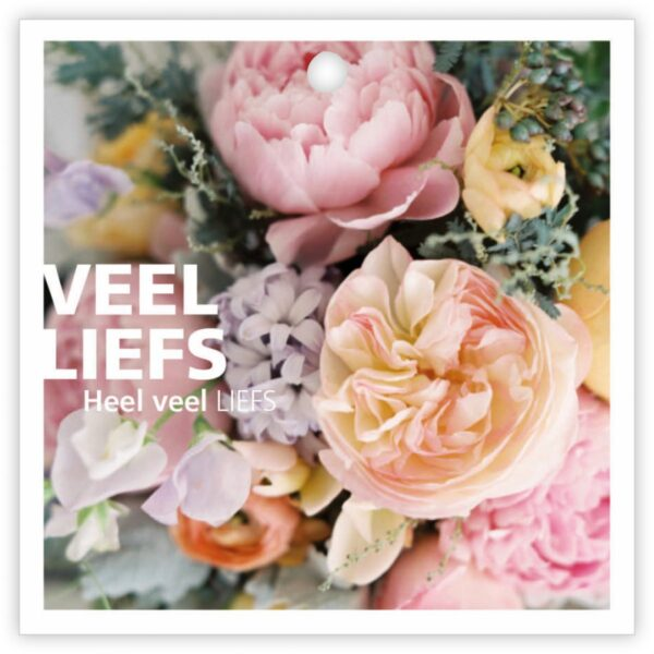 Give X, vierkant minikaartje Veel liefs bloemenprint