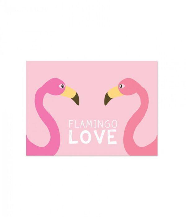 Live Life Happy, A6 kaart, Flamingo love