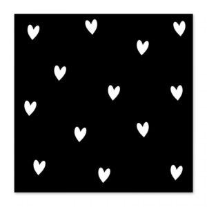 Studio Jans , minikaartje / kadokaartje, Hartjes ( zwart met wit )