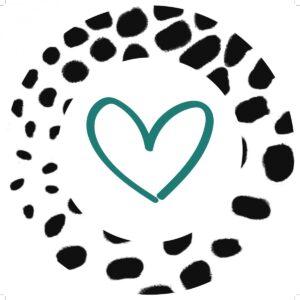 ViaSuuS hartjeslijn , sticker rond 30mm zwart wit met petrol hartje ( per 10 stuks )