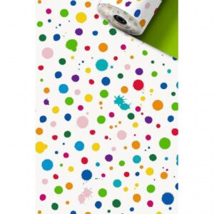 Inpakpapier / kadopapier, confetti verfspetters vrolijke kleuren 30cm x 1 meter