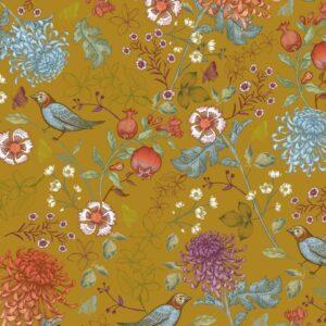 Kadopapier : inpakpapier , 30cm x 100cm , Birdy blossom oker