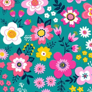 Kadopapier / inpakpapier , 30cm x 100cm , Pretty flowers blauw roze