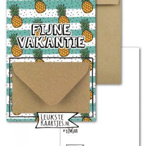 Leukste kaartjes, geld envelop kaart A6, Ananas print `Fijne vakantie`