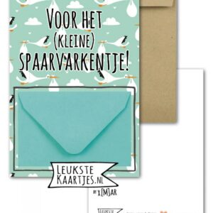 Leukste kaartjes, geld envelop kaart A6, Blauw spaarvarkentje
