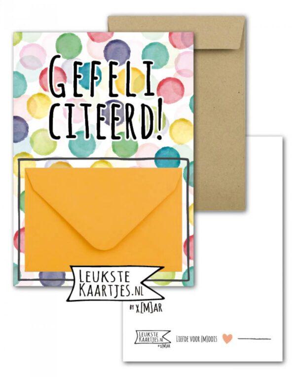 Leukste kaartjes, geld envelop kaart A6, `Gefeliciteerd` confetti