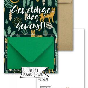 Leukste kaartjes, geld envelop kaart A6, `Geweldige dag` panters