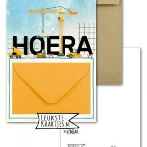 Leukste kaartjes, geld envelop kaart A6, `Hoera` hijskraan geel