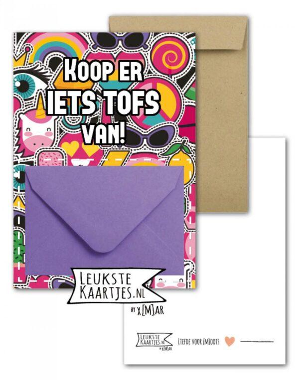 Leukste kaartjes, geld envelop kaart A6, `Koop er iets tofs van` unicorn