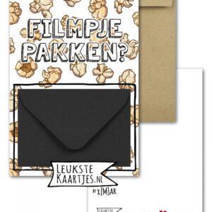 Leukste kaartjes, geld envelop kaart A6, Popcorn ` filmpje pakken