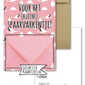 Leukste kaartjes, geld envelop kaart A6, Roze spaarvarkentje
