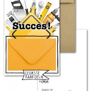 Leukste kaartjes, geld envelop kaart A6, `Succes` klussen gereedschap