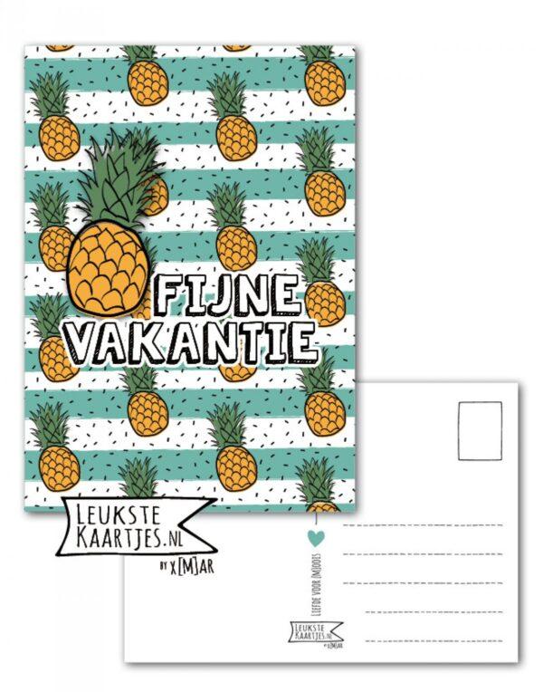 Leukste kaartjes, kaart A6, Ananas print `Fijne vakantie`