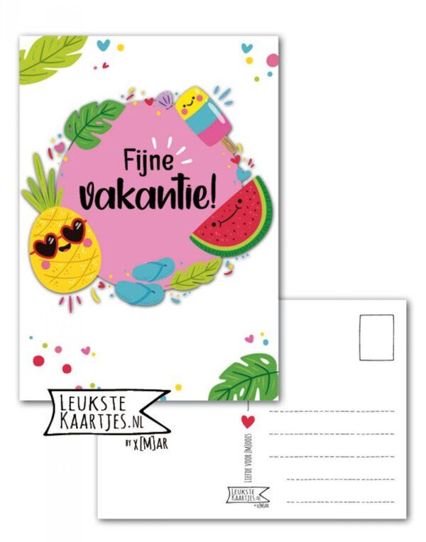 Leukste kaartjes, kaart A6, IJsje meloen ananas `Fijne vakantie`