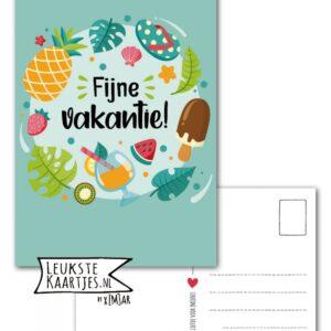 Leukste kaartjes, kaart A6, Rondje blauw drankje ijsje slipper `Fijne vakantie`