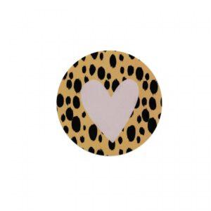 Studio Steef, sticker rond 50mm, Hart vlekjes oker roze ( per 10 stuks )