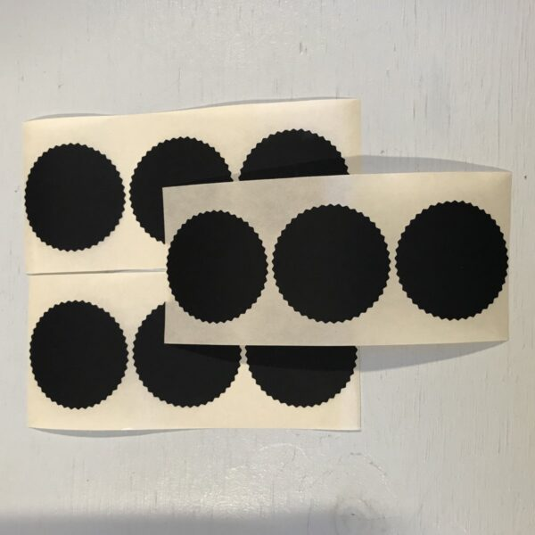 Sticker, Rond zwart kartel randje 44 mm ( per 10 stuks )