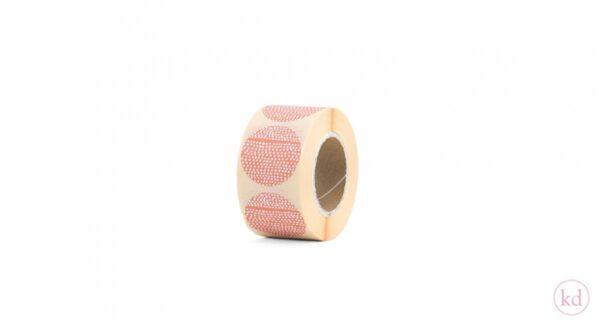 Sticker, Terra orange `Tinne+Mia dotted` 35 mm ( per 10 stuks )