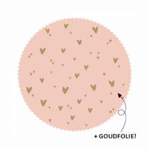 Sticker, hart 44mm, Roze met kleine gouden hartjes print ( per 10 stuks )