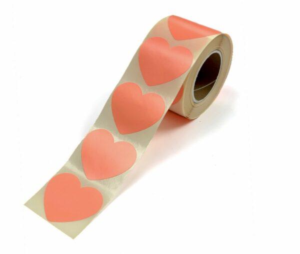 Sticker, hart 50mm, Neon orange oranje ( per 10 stuks )