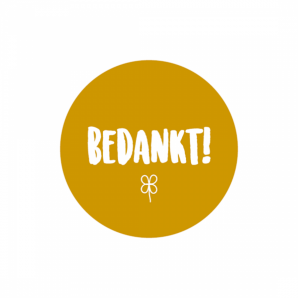 Sticker, hart 50mm, Okergeel `Bedankt` ( per 10 stuks )