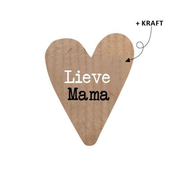 Sticker, hartjesvorm 45x36mm, Kraft met zwart wit `Lieve mama` ( per 10 stuks )