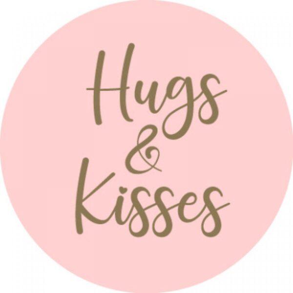 Sticker, rond 35mm, `Hugs and Kisses` Zacht roze ( per 10 stuks )