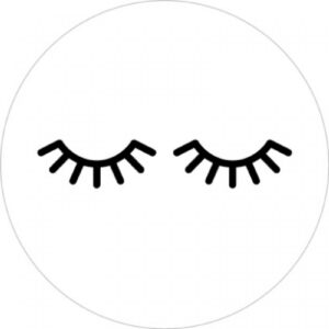 Sticker, rond 35mm, Lashes wimpers ( per 10 stuks )