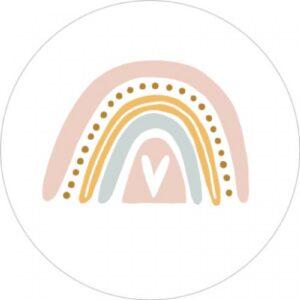 Sticker, rond 35mm, Rainbow regenboog zachte pastel tinten ( per 10 stuks )