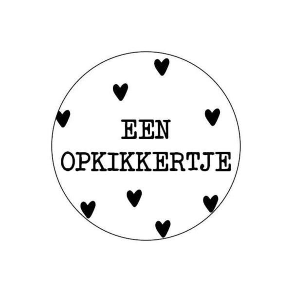 Sticker, rond 40mm, `Een opkikkertje` ( per 10 stuks )