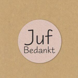 Sticker, rond 40mm, Fluor roze `Juf bedankt`