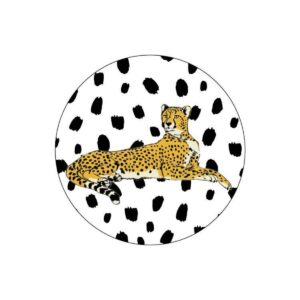 Sticker, rond 40mm, Jaguar liggend zwart wit ( per 10 stuks )