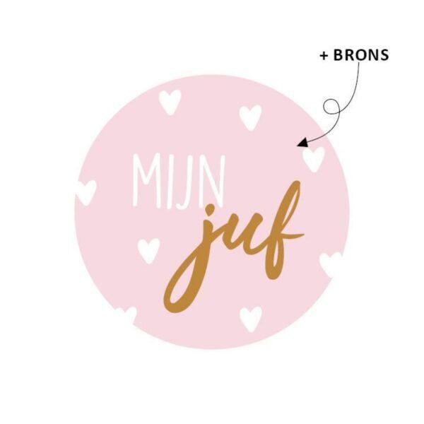 Sticker, rond 40mm, `Mijn juf` roze met witte hartjes ( per 5 stuks )