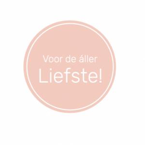 Sticker, rond 40mm, Voor de aller liefste Roze ( per 10 stuks )