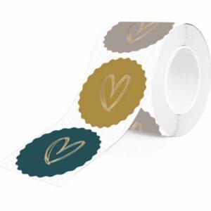 Sticker rond rozet 55mm Gouden hart op petrol oker grijs/taupe ( per 10 stuks assorti )