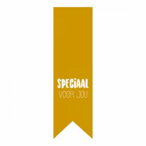 Sticker, vaantje lang, Okergeel ` Speciaal voor jou` ( per 10 stuks )