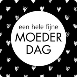 Sticker, vierkant 35mm, `Fijne moederdag` zwart wit ( per 10 stuks )