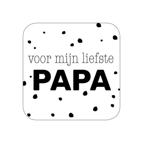 Sticker, vierkant 40mm, `Voor mijn liefste papa` zwart wit ( per 10 stuks )