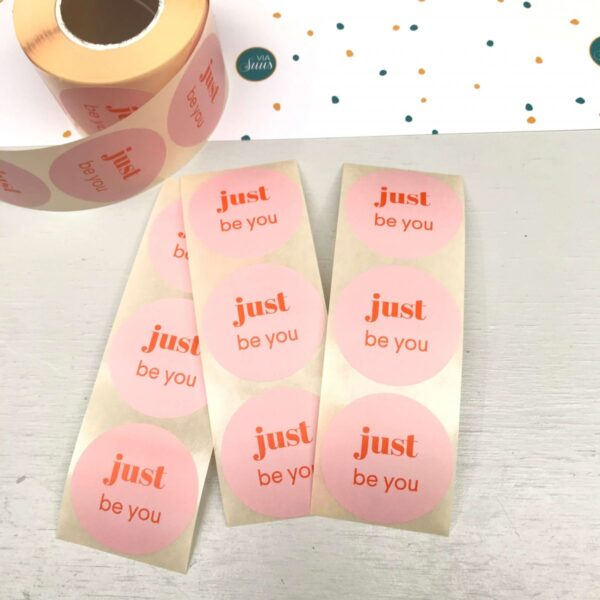 Stickers, Just Be You, roze met oranje Rond 50mm ( per 10 stuks )
