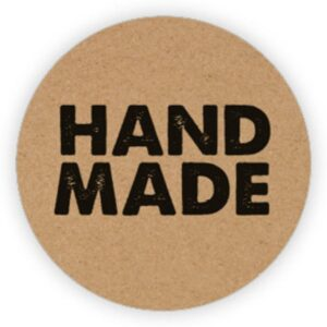 Stickers, Kraft Hand Made, per 10 stuks