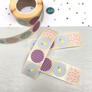 Stickers Sticky Lemon, Stripes Lemon Sprinkles citroen 25mm, assorti per 10 stuks